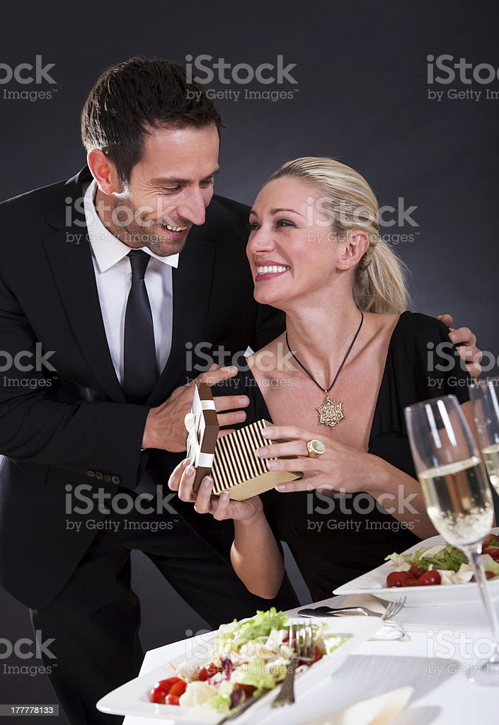Romantic couple at the restaurant royalty-free stock photo