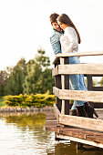 Romantic couple by the lake