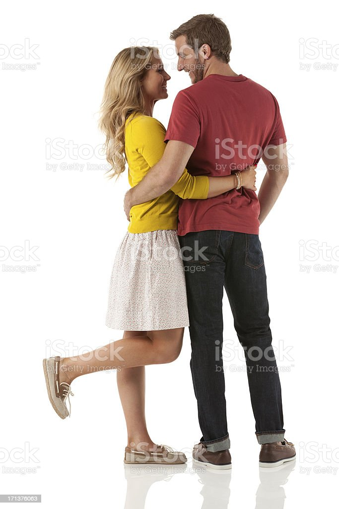 Romantic couple embracing each other stock photo