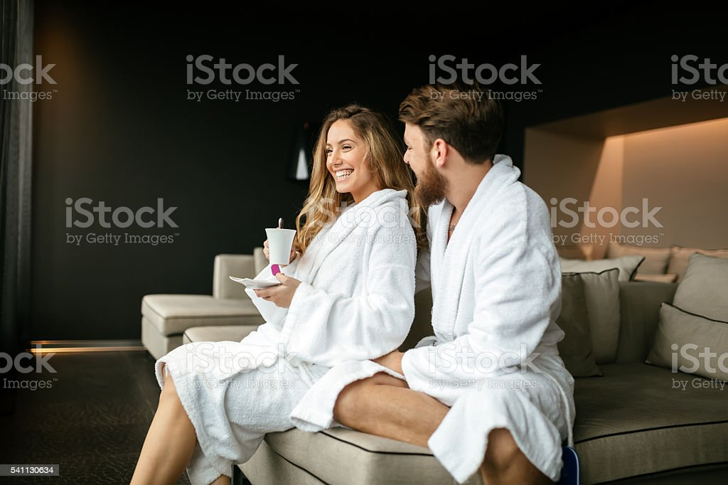 Romantic couple enjoying honeymoon escape stock photo