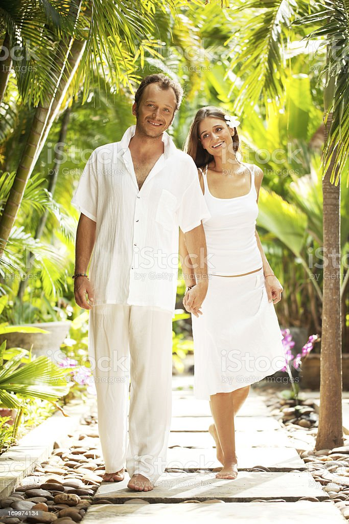 Romantic couple enjoying in the walk. royalty-free stock photo