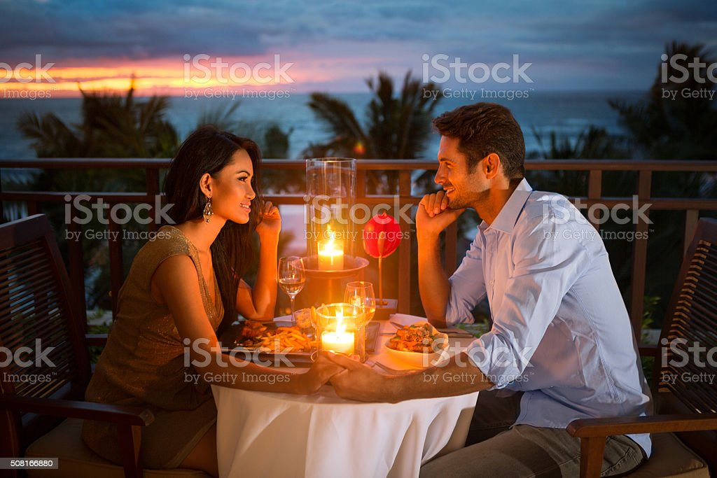 Romantic couple have dinner  outdoor stock photo