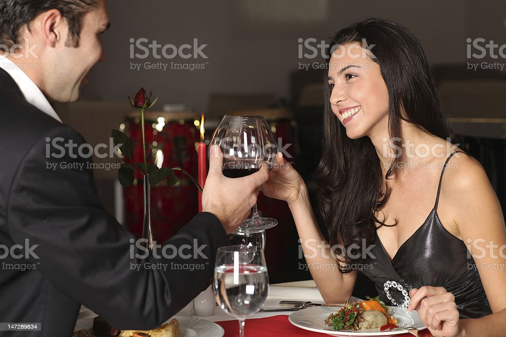 Romantic couple having dinner royalty-free stock photo