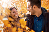 Romantic couple in autumn park. Love, dating, romance.
