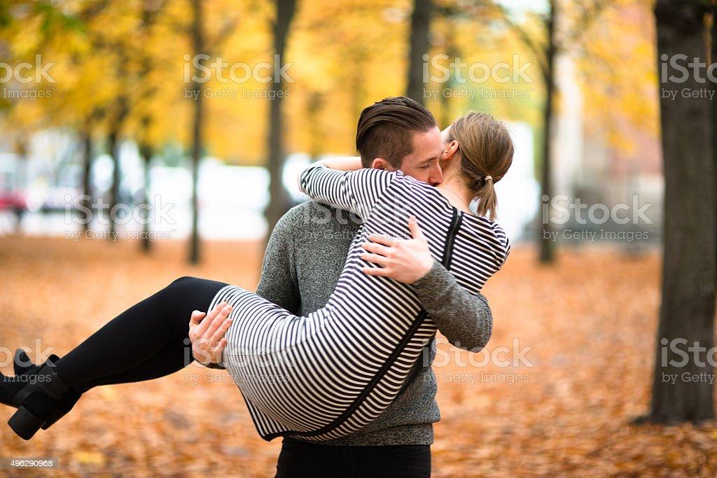romantic couple in autumn stock photo