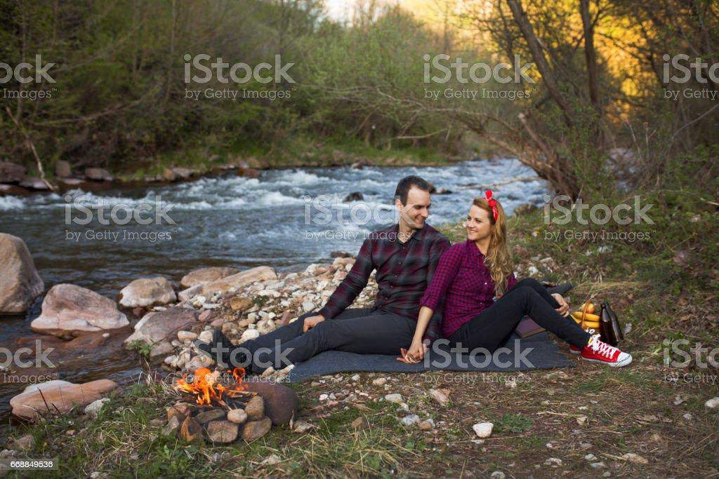 Romantic couple in love stock photo