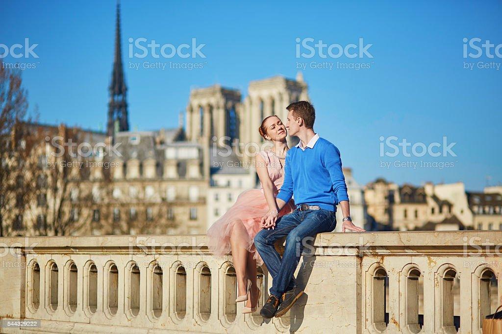 Romantic couple in Paris, France stock photo