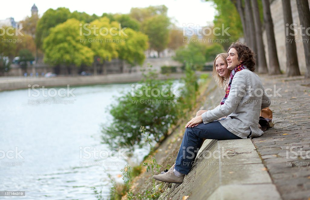 Romantic couple in Paris, having a date royalty-free stock photo