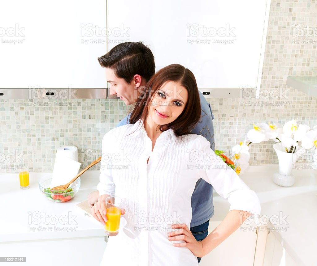 Romantic Couple In The Kitchen stock photo 185217144 | iStock