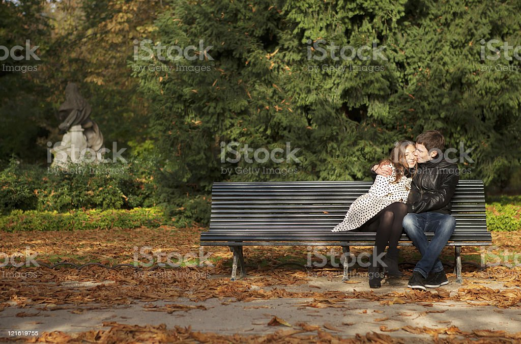 Romantic couple in the Luxembourg garden at fall. Paris, France royalty-free stock photo