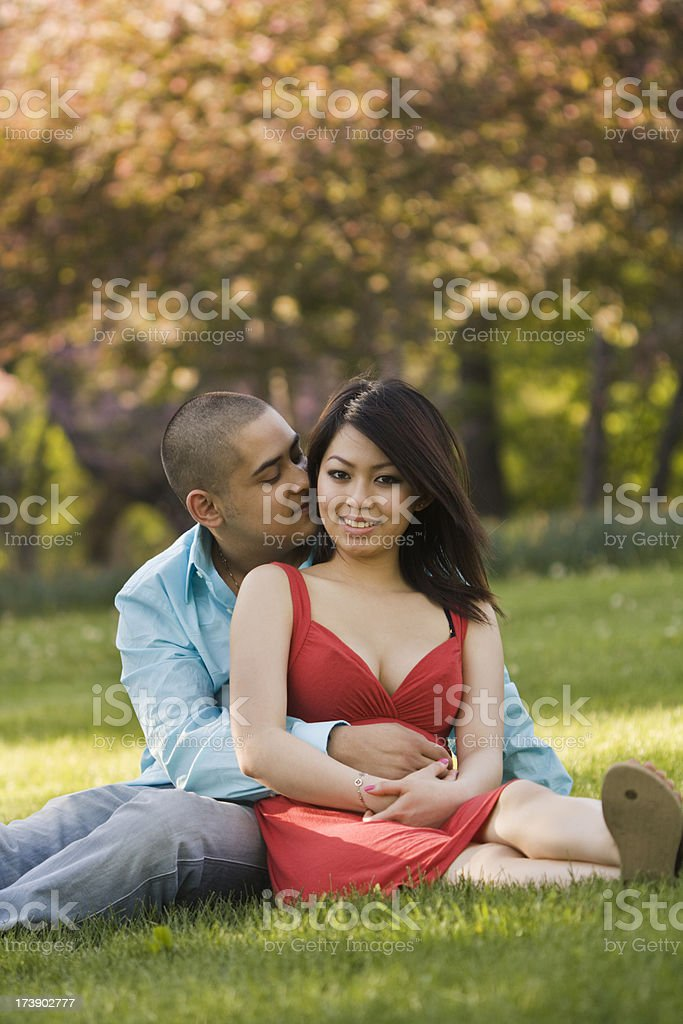 Romantic Couple in the Park royalty-free stock photo