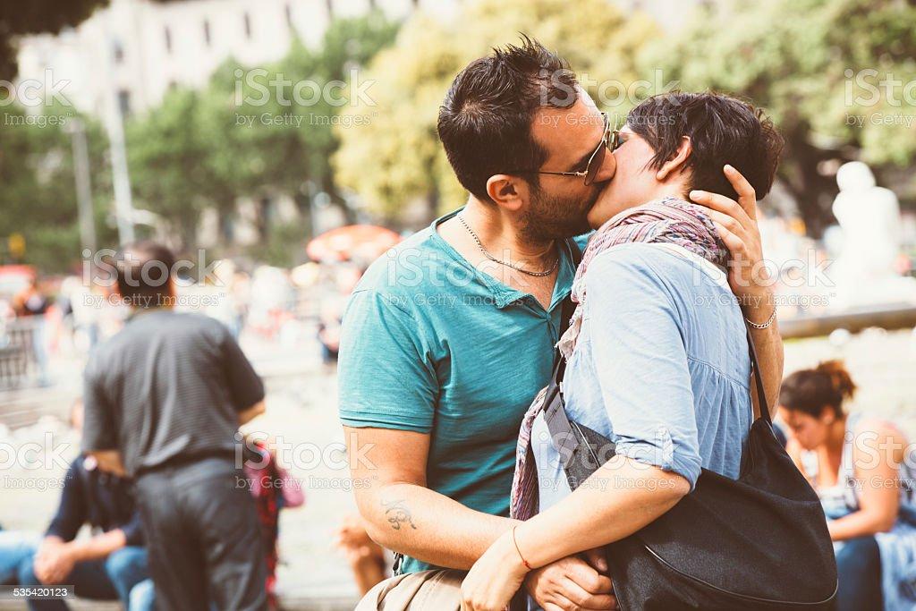 Romantic couple kissing stock photo