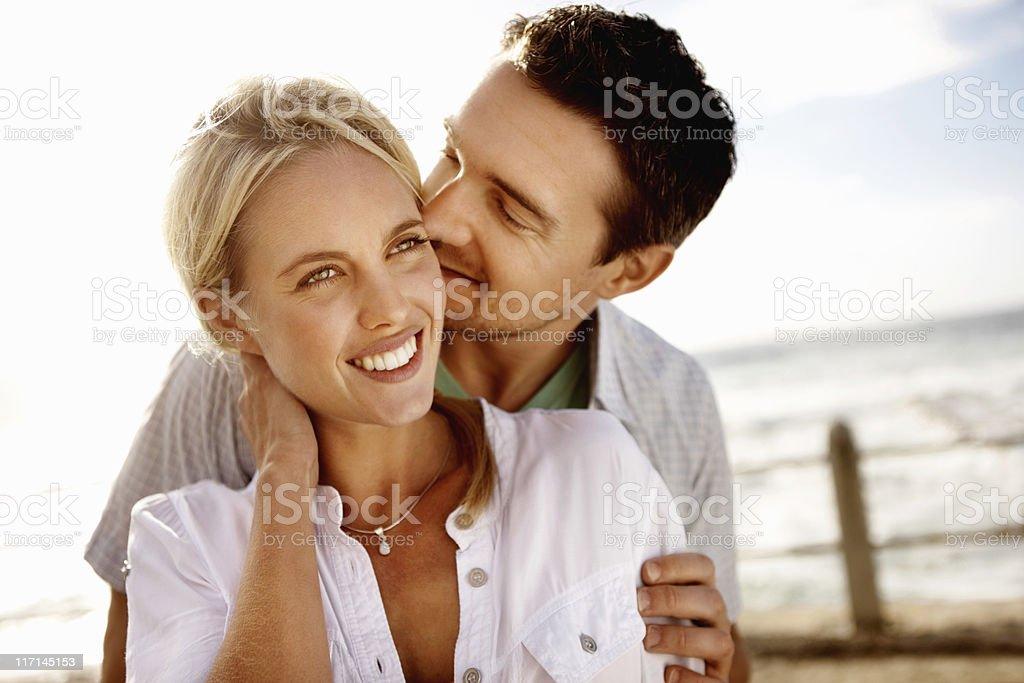 Romantic couple on the beach royalty-free stock photo