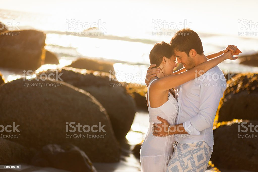 Romantic Couple On the Beach royalty-free stock photo