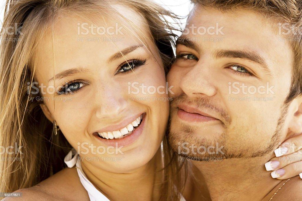 Romantic couple on the seaside stock photo