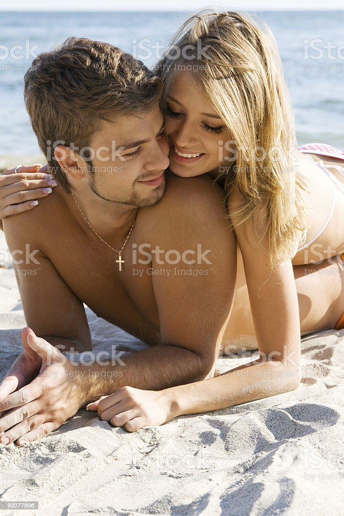 Romantic couple on the seaside royalty-free stock photo