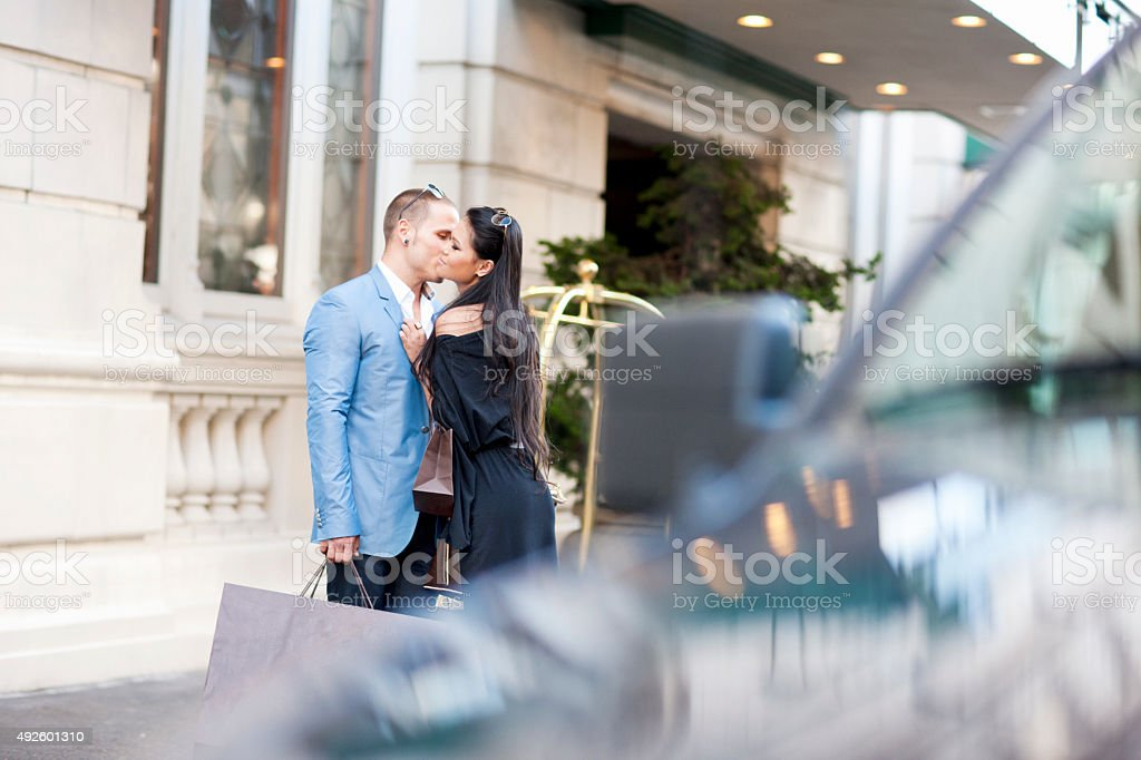 Romantic Couple on the Sidewalk stock photo