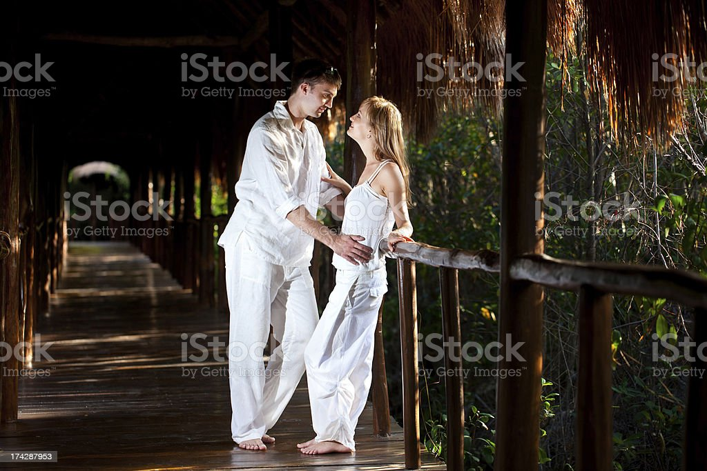 Romantic couple on vacation in tropical jungle royalty-free stock photo