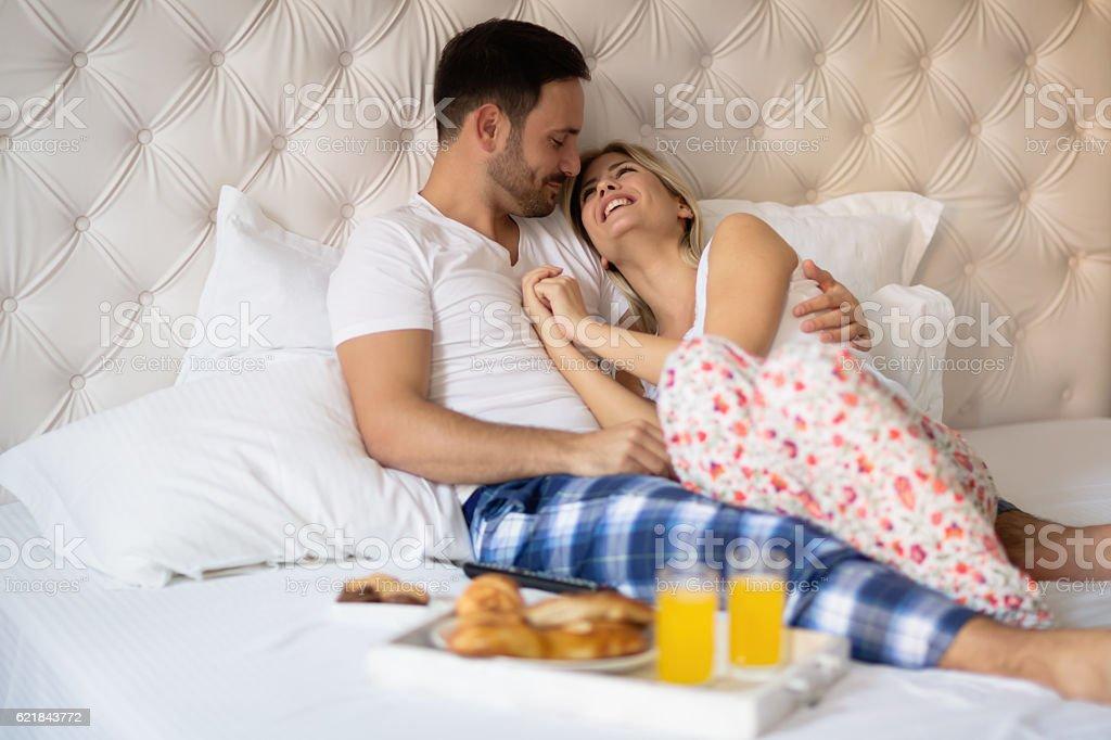 Romantic couple on weekend stock photo