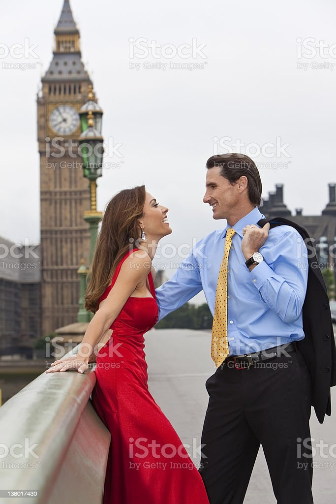 Romantic Couple on Westminster Bridge by Big Ben, London, England royalty-free stock photo