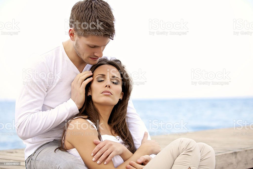Romantic Couple Sitting Together royalty-free stock photo