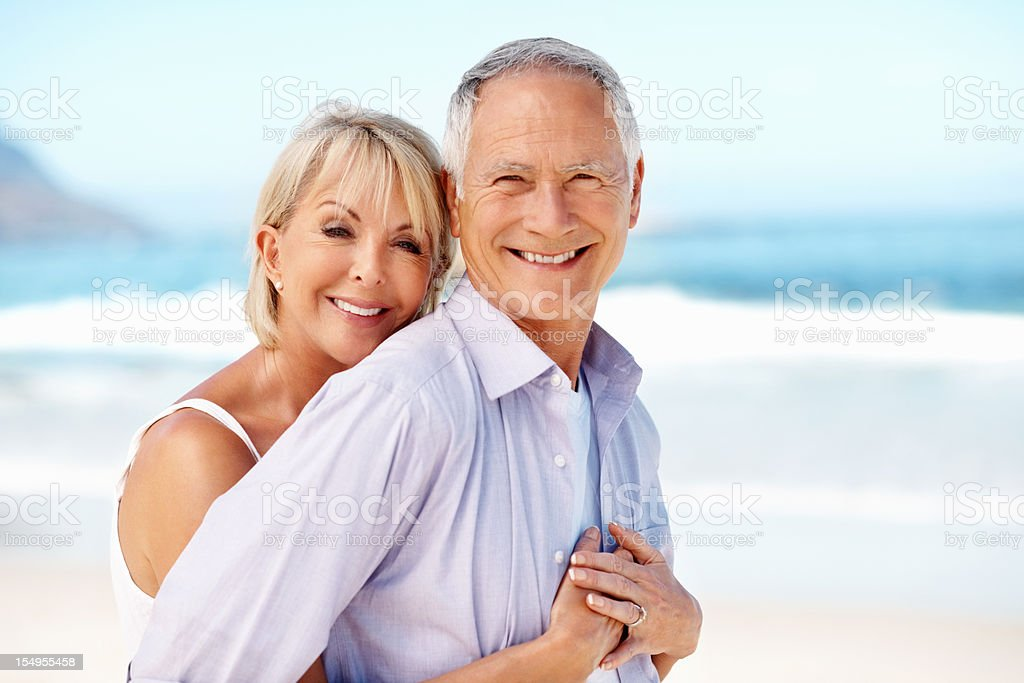 Romantic couple smiling royalty-free stock photo