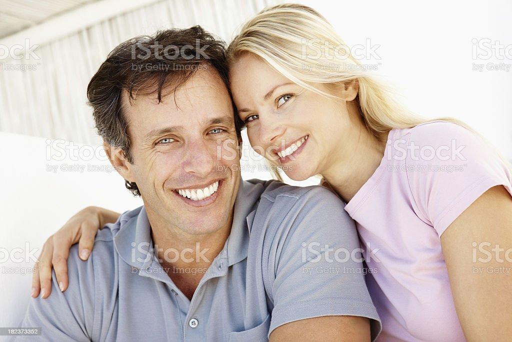 Romantic couple smiling royalty-free stock photo