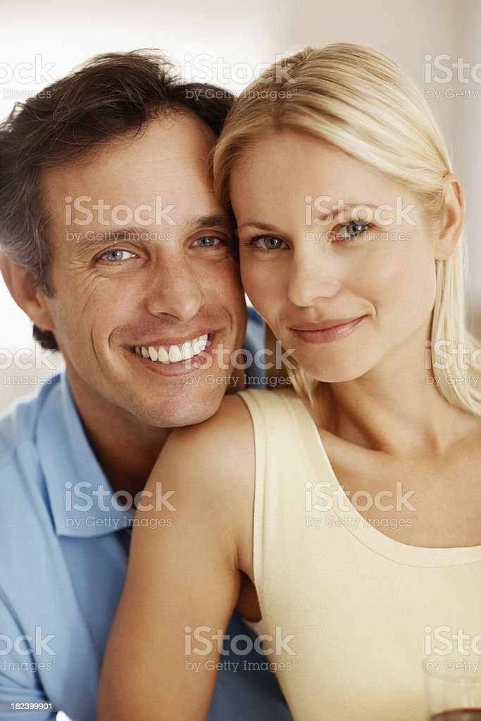 Romantic couple smiling together royalty-free stock photo