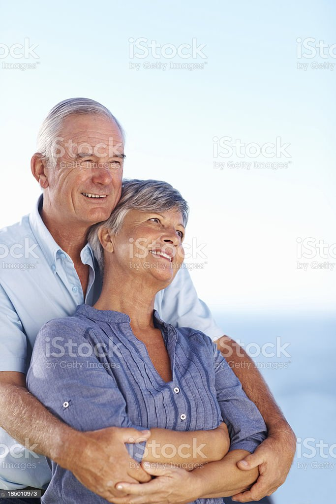Romantic couple spending time outdoors royalty-free stock photo