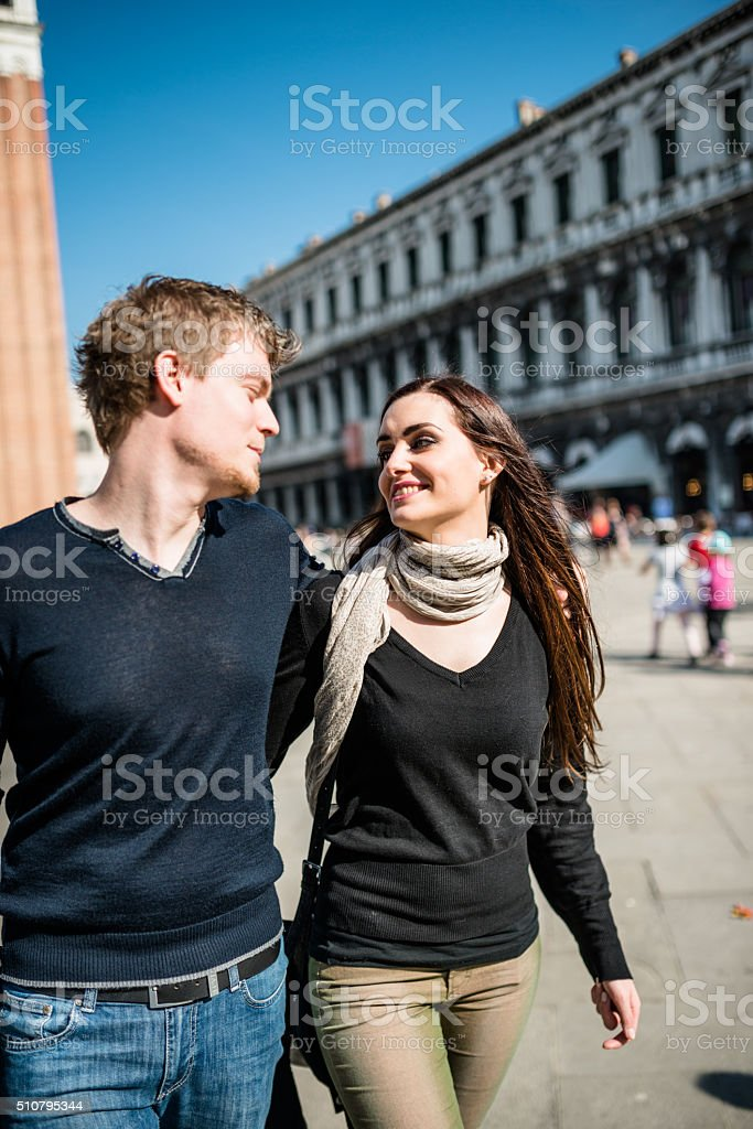romantic couple togetherness in venice stock photo