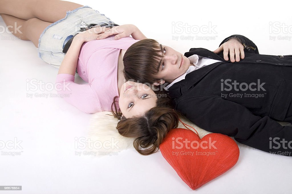 Romantic couple with red heart royalty-free stock photo