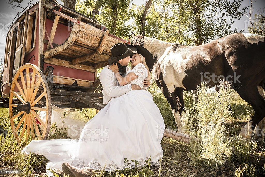 Romantic Cowboy Wedding royalty-free stock photo