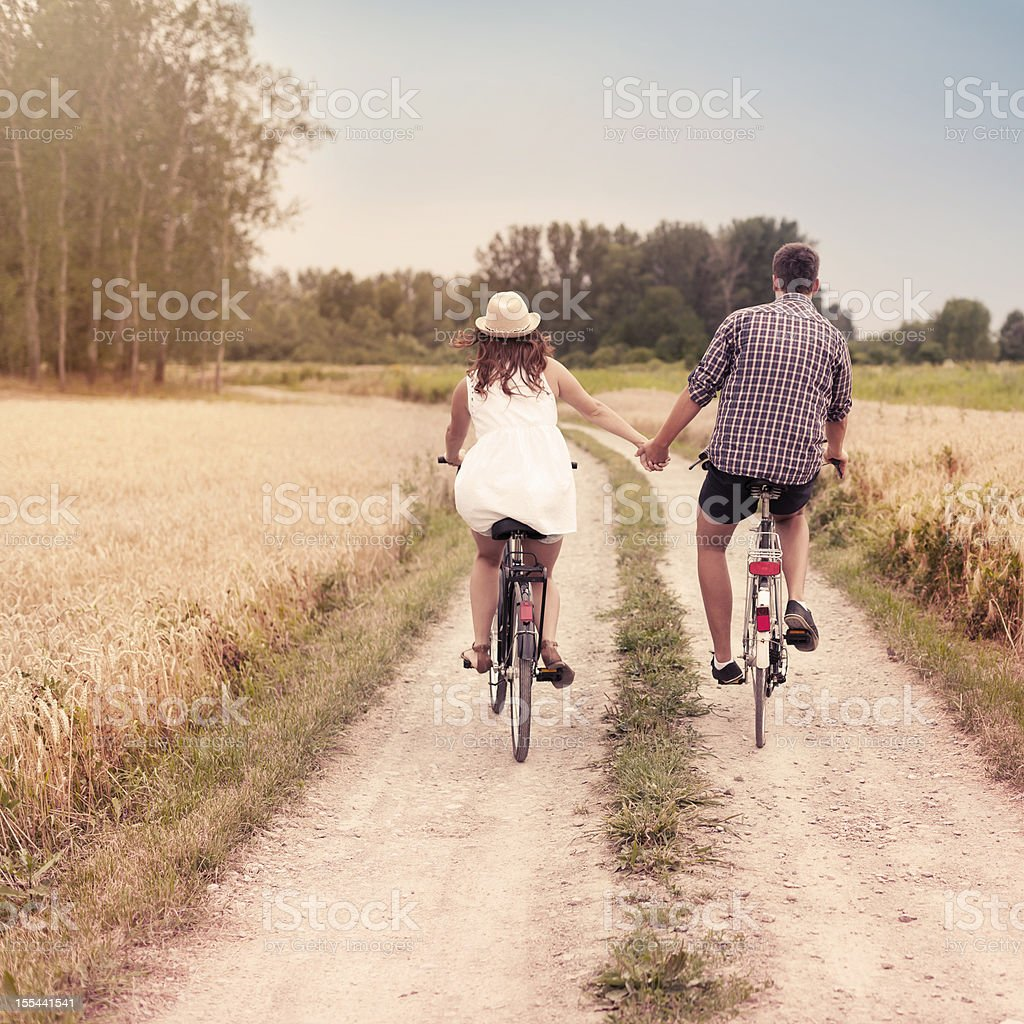 Romantic cycling stock photo