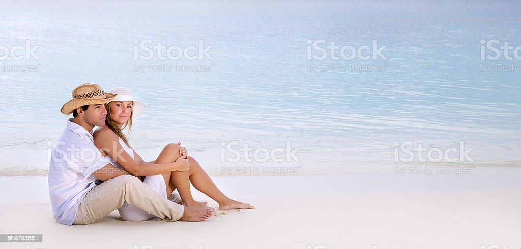 Romantic date on the beach stock photo