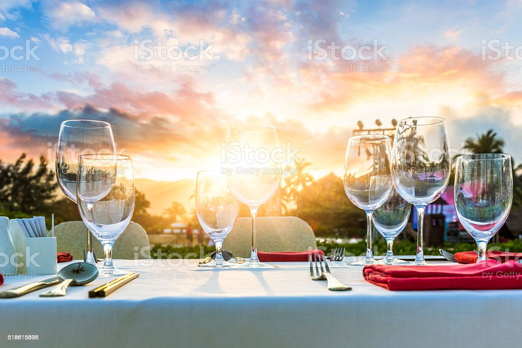 Romantic Dinner at beach stock photo