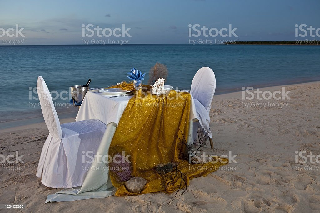 Romantic Dinner for Two at Beach Wedding Reception Celebration Party royalty-free stock photo