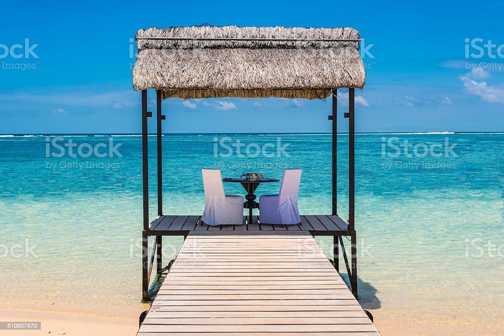 Romantic dinner in paradise stock photo