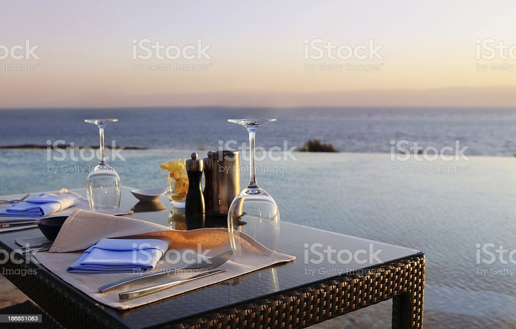 Romantic Dinner on the Beach stock photo