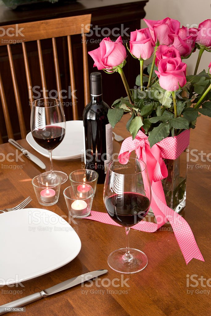 romantic dinner setting for two royalty-free stock photo