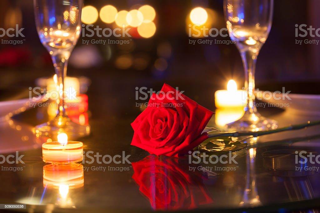 Romantic dinner setting stock photo