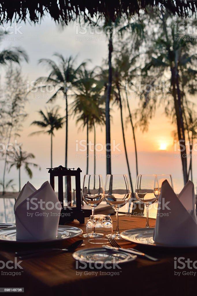 romantic dinner setup stock photo