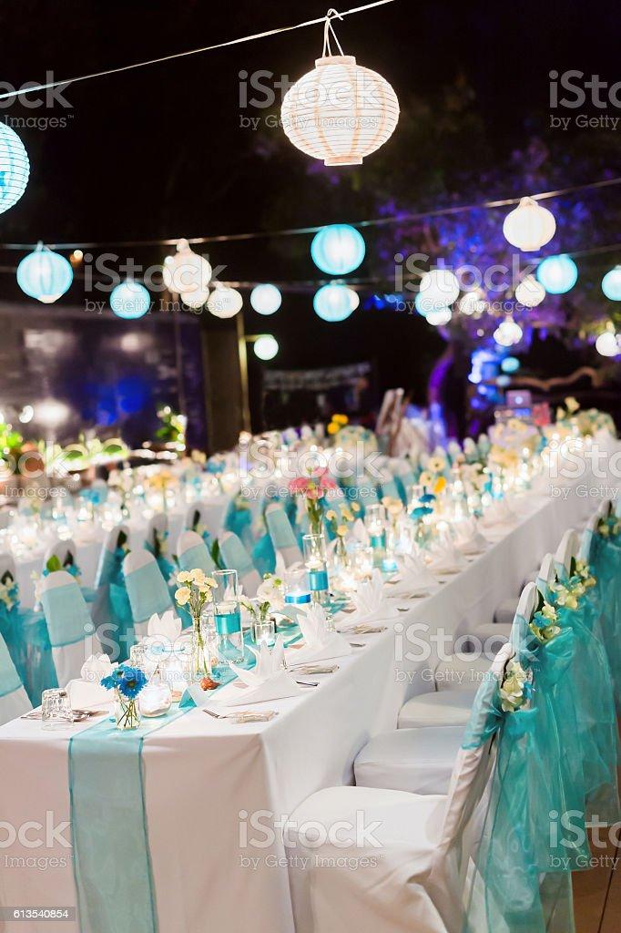 Romantic dinner setup - Wedding stock photo