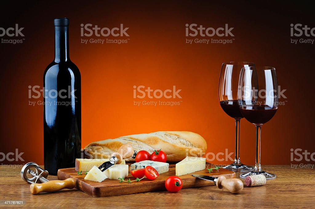 Romantic dinner with cheese and wine royalty-free stock photo