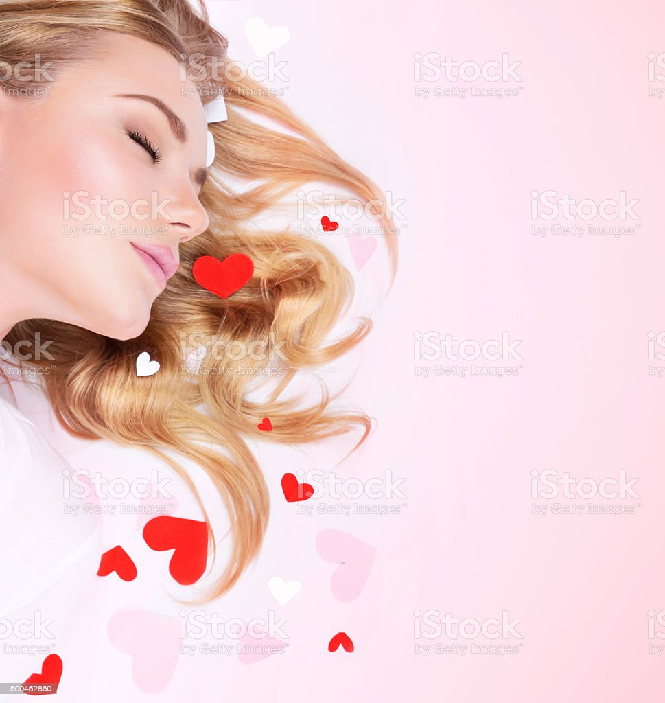 Romantic dreaming girl stock photo