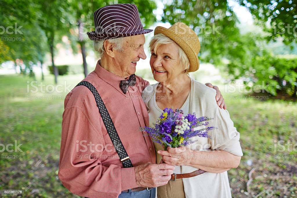 Romantic elderly couple stock photo