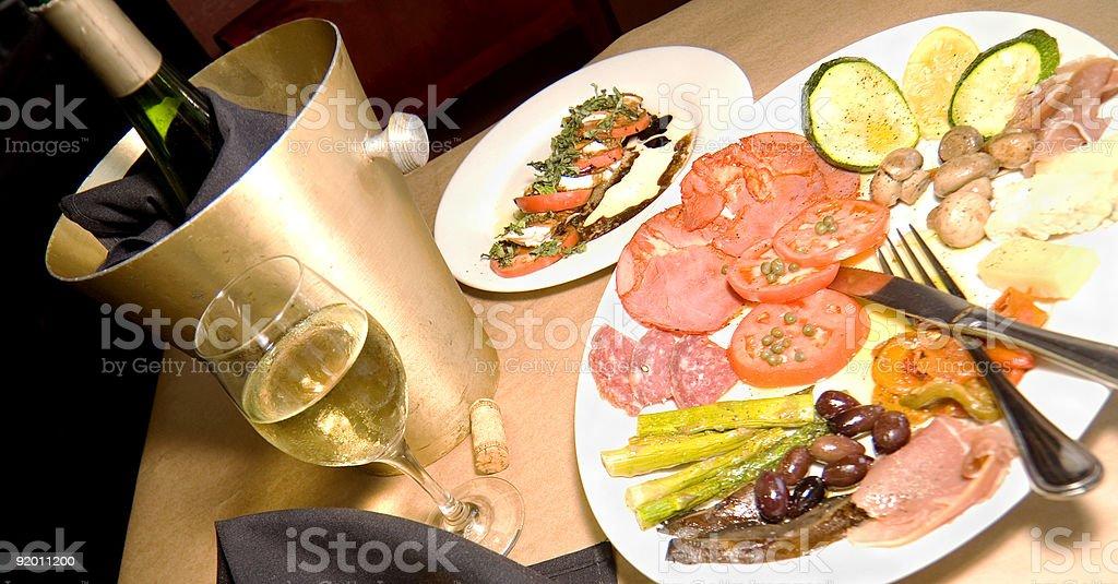Romantic Evening: Antipasto with Wine royalty-free stock photo