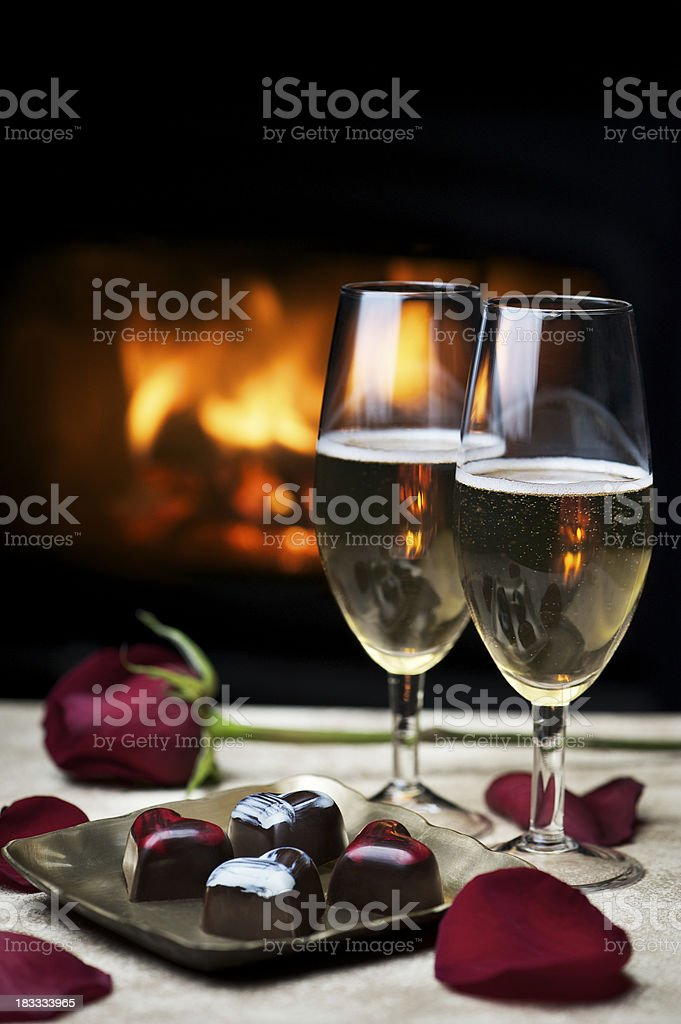 Romantic Evening by the Fire royalty-free stock photo