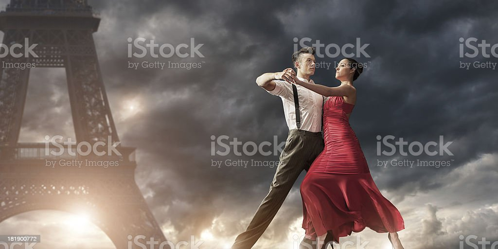 Romantic Evening Dance in Paris royalty-free stock photo