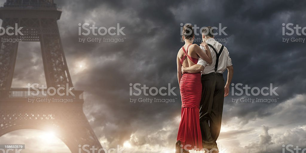 Romantic Evening Walk in Paris royalty-free stock photo