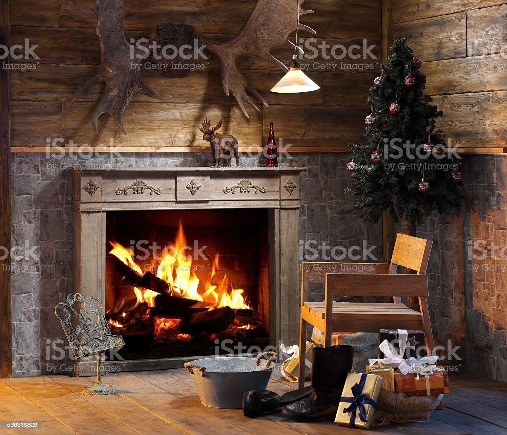Romantic Fireplace stock photo